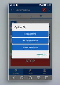 SMS Parking - Optiuni BIP