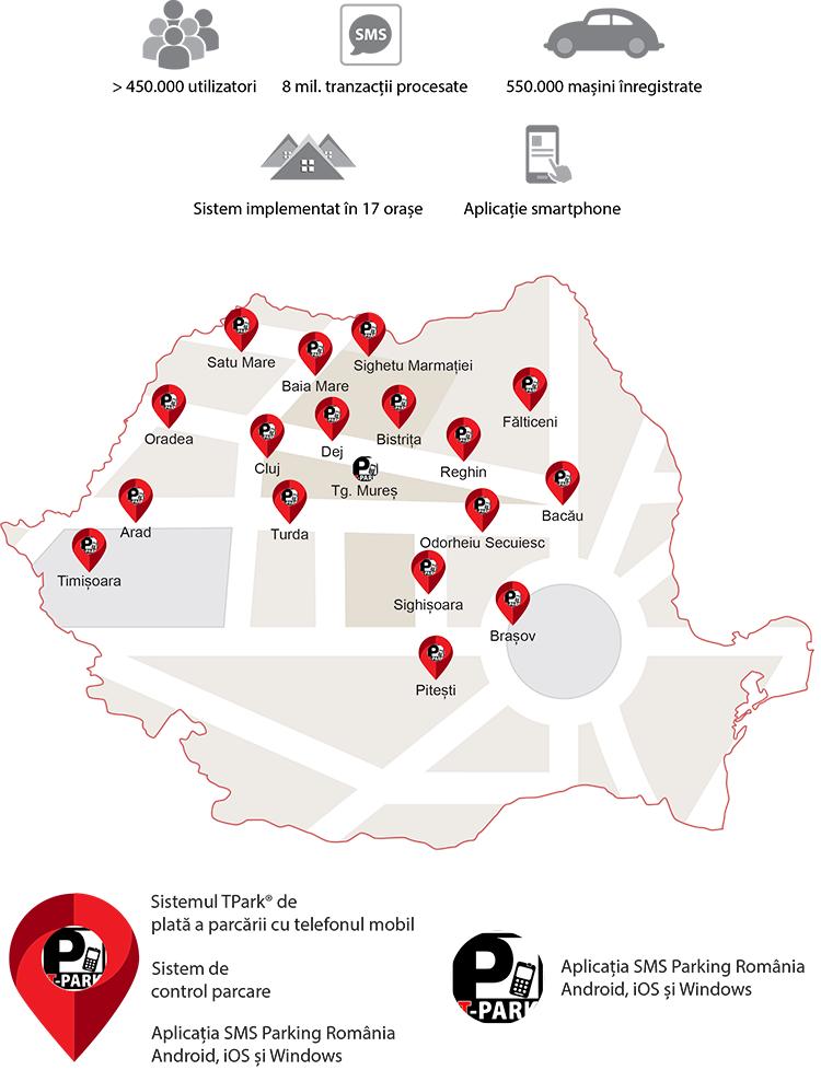 Harta parcarilor TPark din Romania